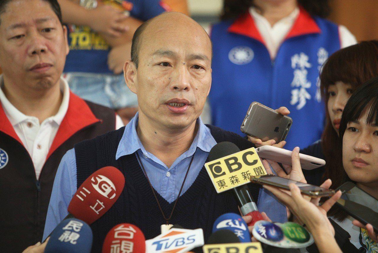 高雄市長韓國瑜否認吳敦義有拿4000萬給他。 記者劉學聖/攝影