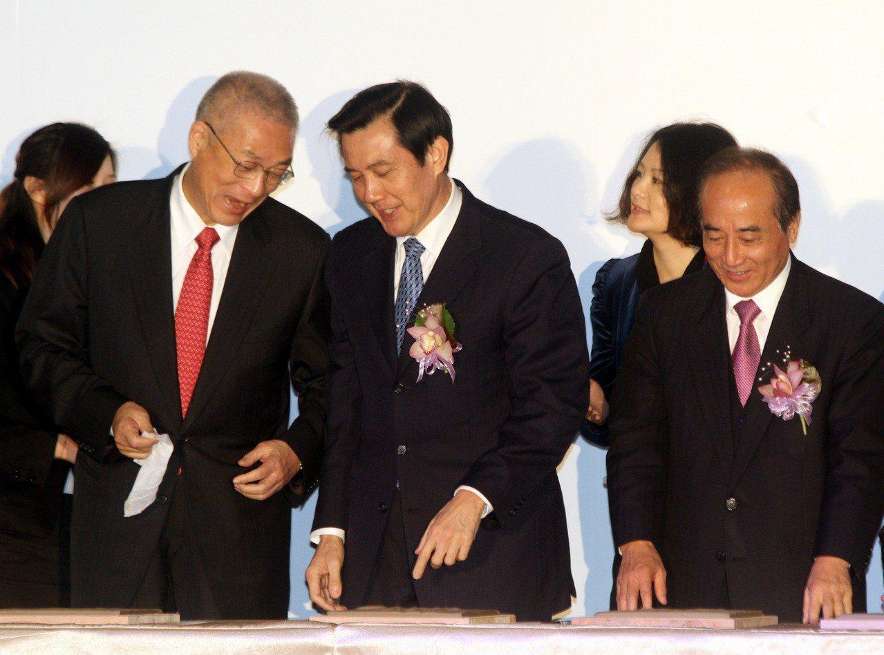傳出今天晚間黨主席吳敦義(左起)、前總統馬英九與王金平將同台出席活動。 記者曾吉...
