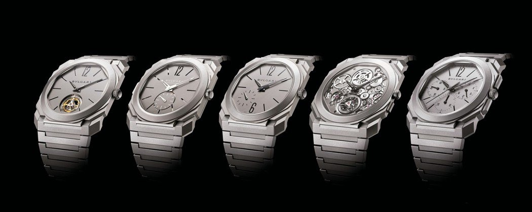 寶格麗超薄Octo Finissimo系列五度締造世界紀錄。(由左至右)超薄陀飛...