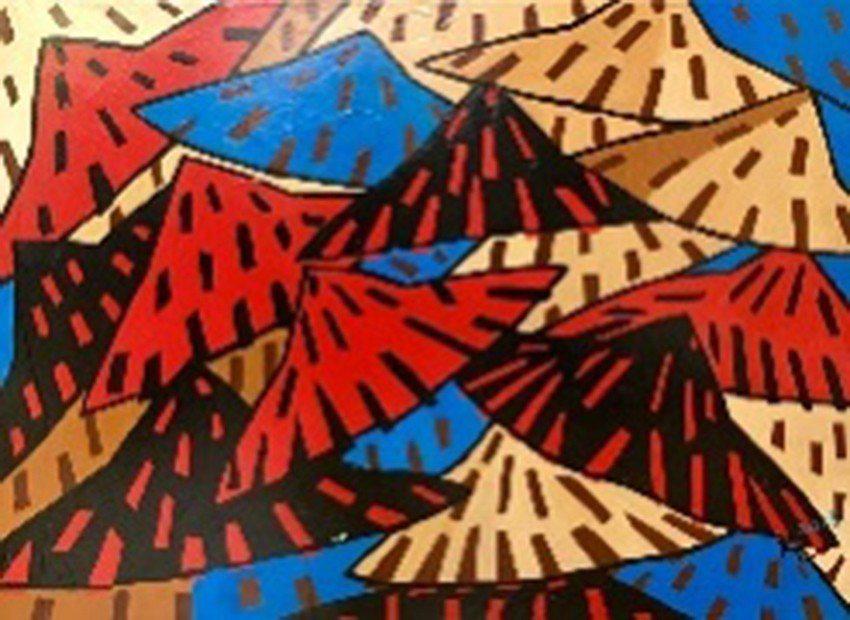 〈Bamboo hats〉,2013,壓克力,20P。 人文遠雄博物館/提供