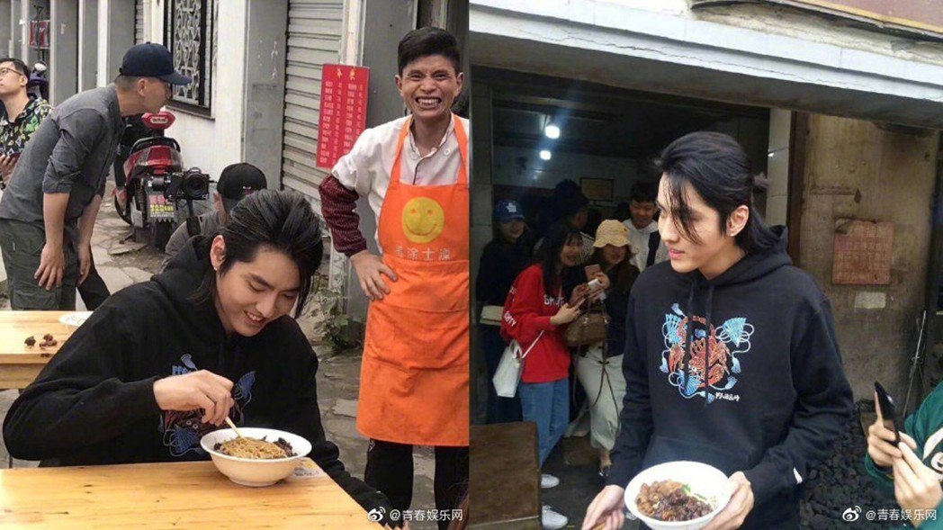 吳亦凡日前在路邊吃麵被捕獲。圖/擷自微博