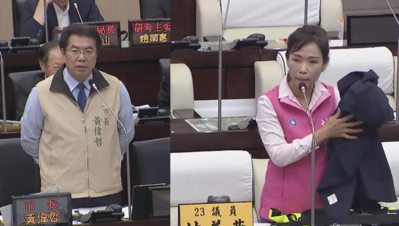 國民黨台南市議員林美燕(右)表示,新的警察制服不透氣,希望爭取預算製作透氣性高的...