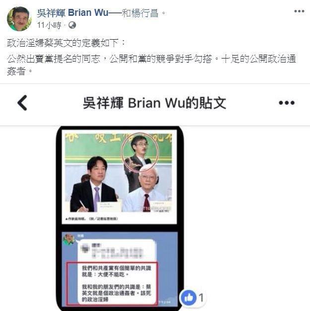 吳祥輝在臉書上嗆蔡英文「政治淫婦」。