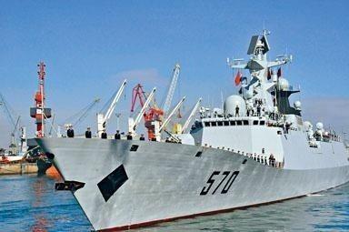 圖為導彈護衞艦「黃山艦」,將與導彈驅逐艦「海口艦」組成的艦艇編隊下周30日至5月...