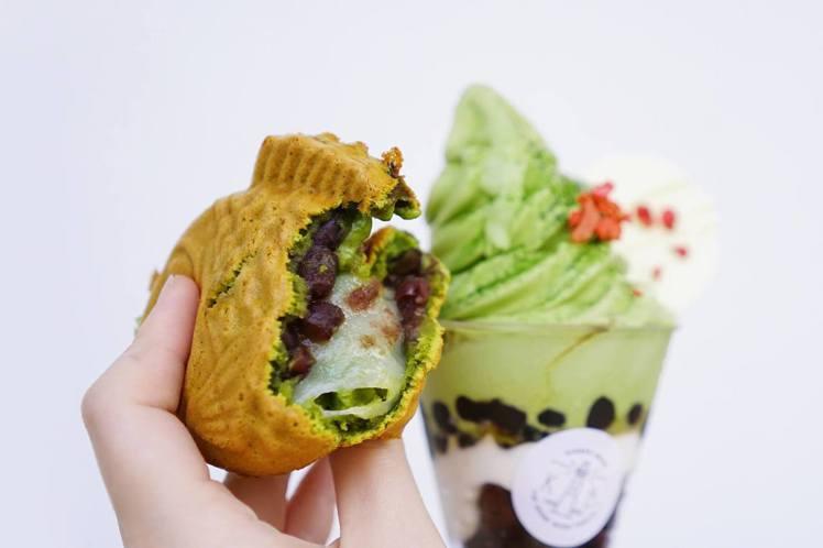 抹茶紅豆鯛魚燒有QQ麻糬搭配冰品最棒。金帛手製/提供