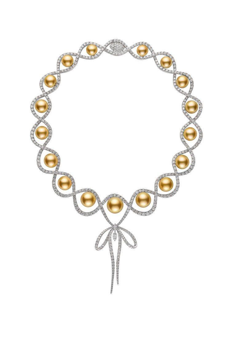 MIKIMOTO Jeux de Rubans 南洋黃金珍珠鑽石蝴蝶結墜飾高級珠...