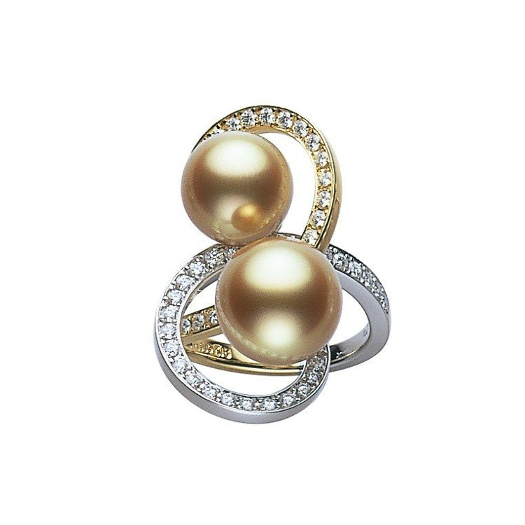 MIKIMOTO Jeux de Rubans 南洋黃金珍珠鑽石緞帶高級珠寶戒指...