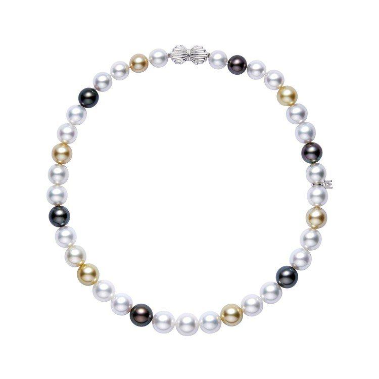 MIKIMOTO Multi-color 南洋珍珠高級珠寶項鍊,18K白金鑲嵌南...