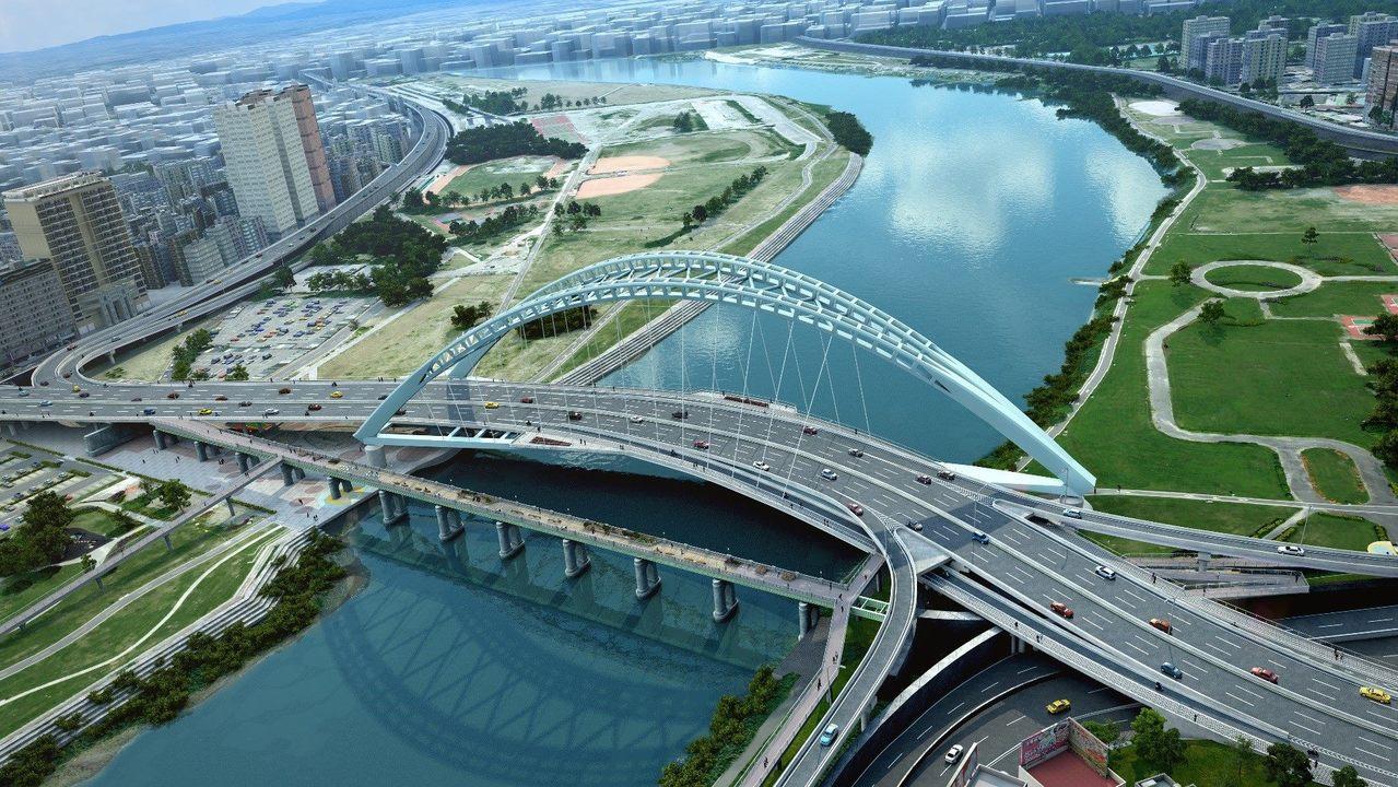 北市中正橋改建,未來新橋路線為S型,繞過具有文資身份的「川端橋」。圖/北市新工處...