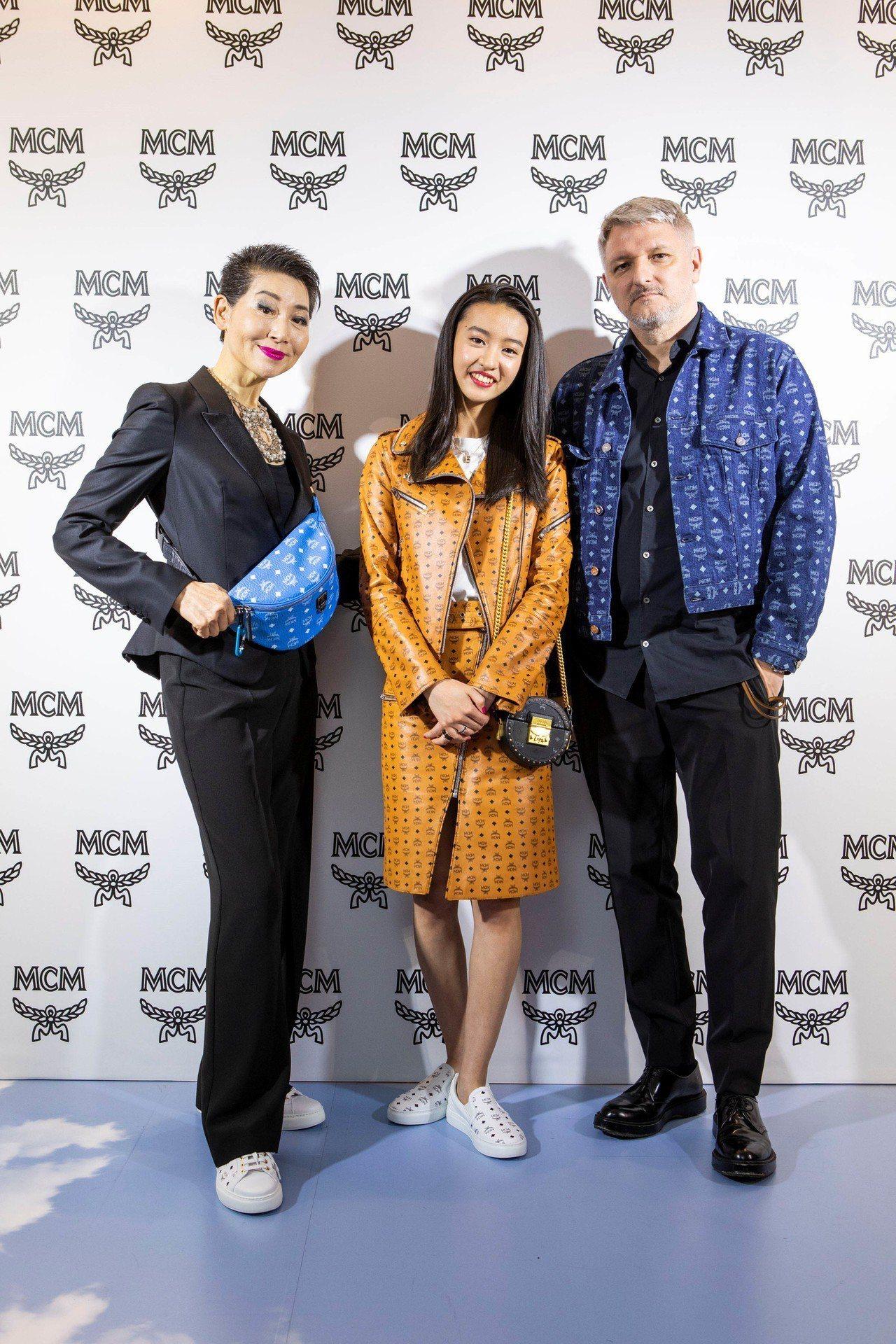 (左起)MCM全球首席前瞻官金聖珠Kim Sung-joo、木村光希Kōki 和...