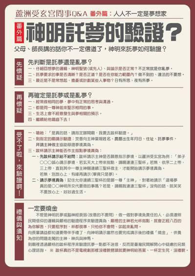 新北蘆洲受玄宮特別製作圖表,透過「先懷疑」、「再懷疑」、「受不了來驗證」3步驟來...
