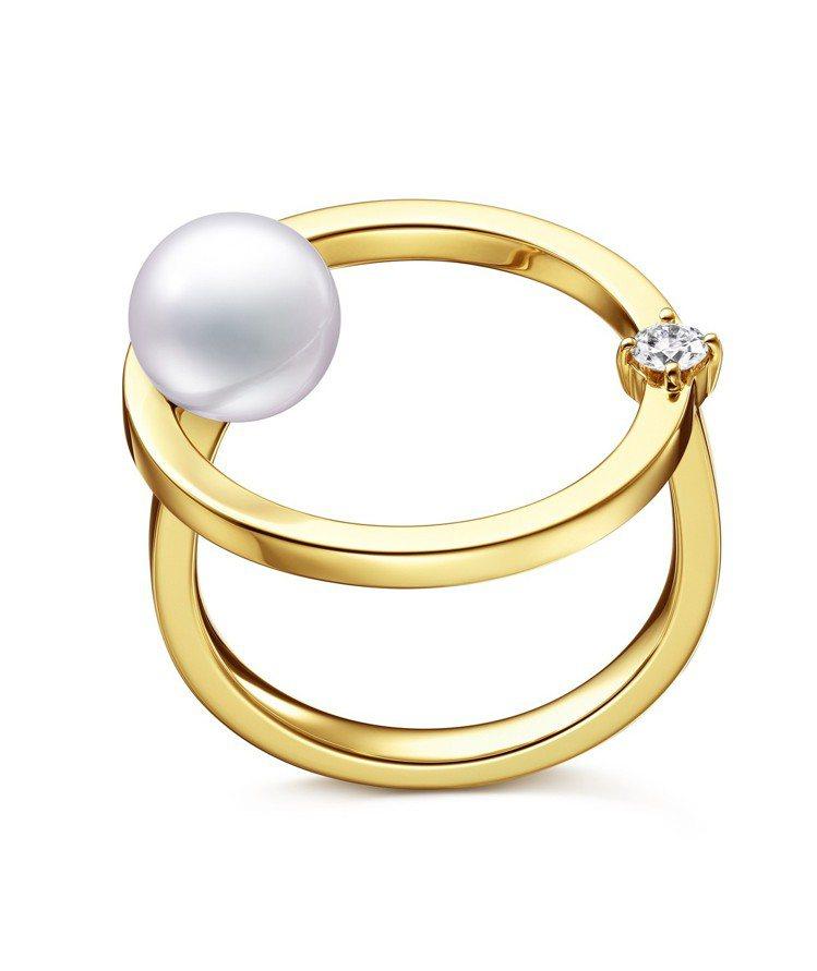 TASAKI kinetic鑽石珍珠黃K金戒指,約70,500元。圖/TASAK...