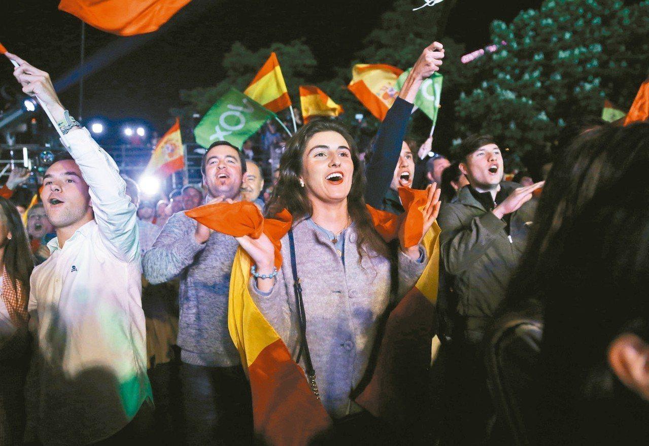 西班牙極右派民聲黨的支持者在大選夜聚集等候開票結果,該黨此次選舉獲1970年代以...