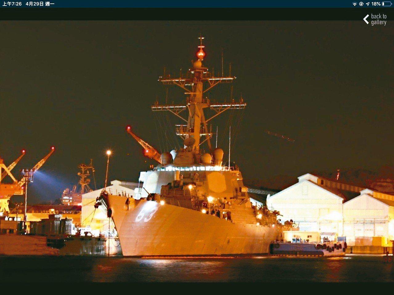 民間艦船航跡app MarineTraffic顯示,美軍勃克級神盾驅逐艦史塔森號...
