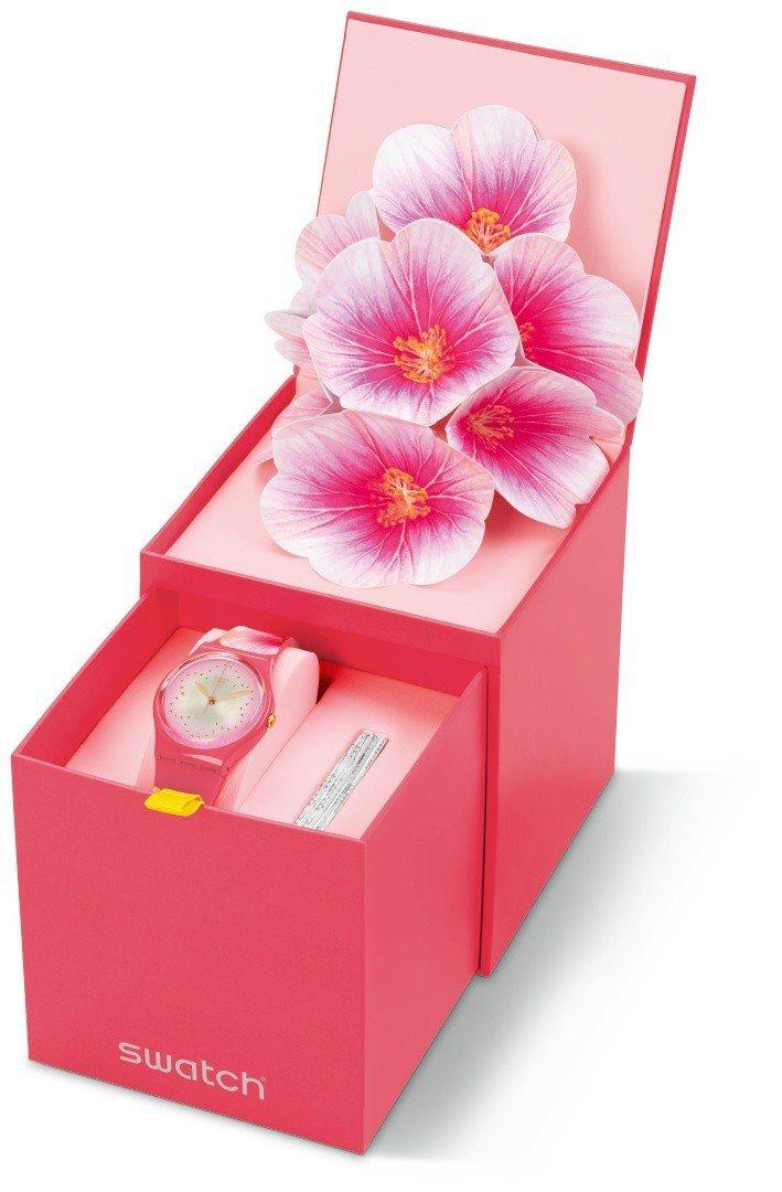 SWATCH 2019母親節特別款「溫柔木槿」腕表,2,850元。圖/SWATC...
