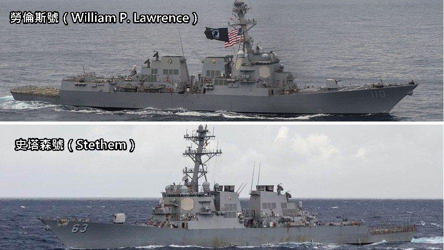 據美軍通報,經過台海的美軍兩艘驅逐艦,分別是是勞倫斯號(William P. L...