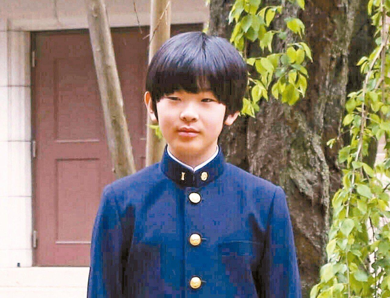 日皇繼承人屈指可數,圖為12歲的悠仁。 美聯社