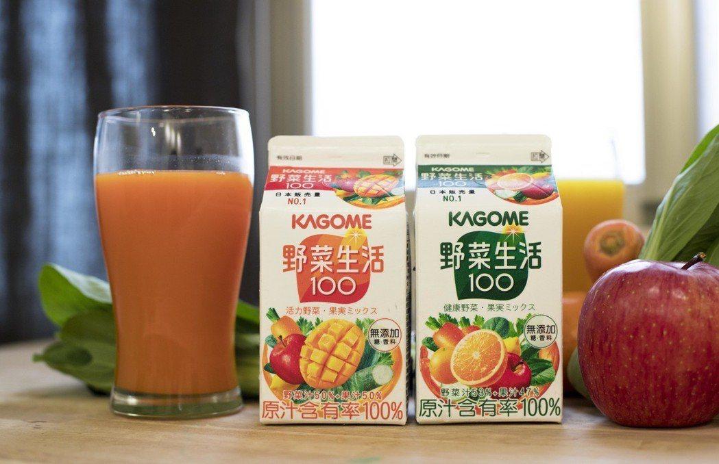 KAGOME野菜生活100純蔬果汁選擇在台首發上市。 可果美/提供