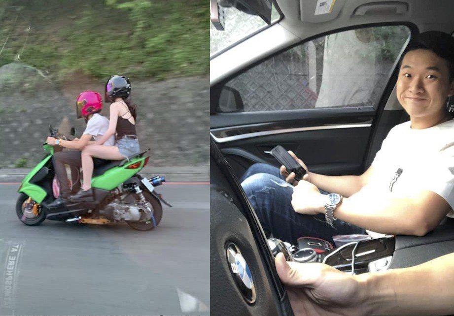 網友抱怨別人騎著摩托車可以載妹,自己開車卻「載的是一個智障」。圖擷自   爆廢公社