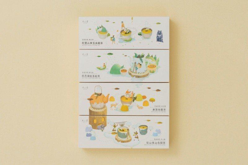 春、夏、秋、冬,四款茶擺放在一起,外包裝圖案相連,為設計巧思。 不二堂/提供