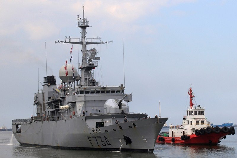 3個禮拜前,法國軍艦葡月號經過台灣海峽。圖為2018年3月該艦訪菲律賓馬尼拉。 ...