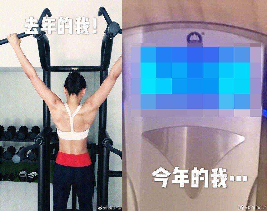 劉濤曬出去年的背肌照。圖/擷自微博