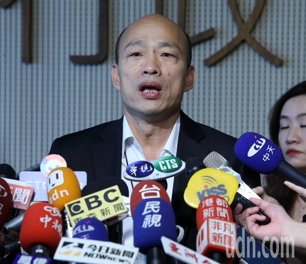 高雄市長韓國瑜針對選舉捐款流向再度向媒體說明。記者劉學聖/攝影