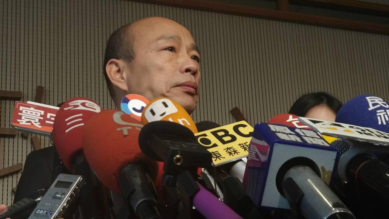 高市長韓國瑜上午在市政會議後受訪。記者蔡孟妤/攝影
