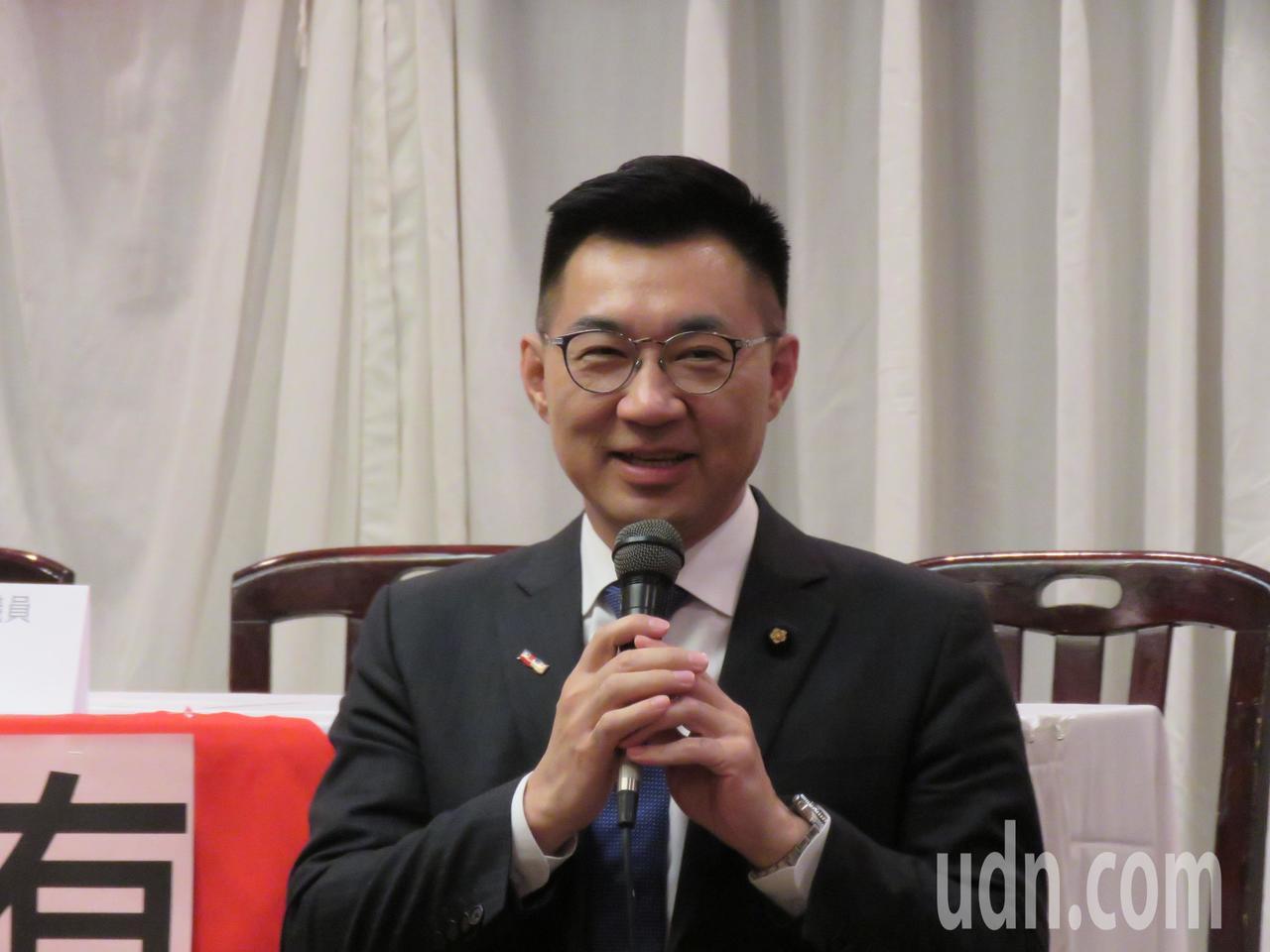 國民黨立委江啟臣29日出席於美國馬里蘭州舉行的僑界座談餐會。華盛頓記者張加/攝影
