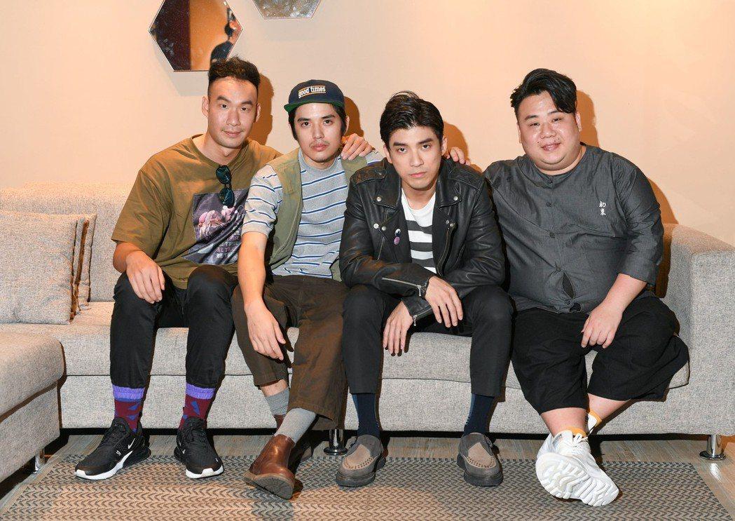 邱俊儒(左起)、歐陽倫、林哲熹及劉國劭為電影「樂獄」進行媒體聯訪。圖/文達文創提