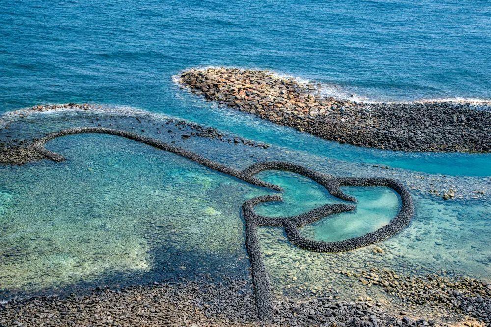澎湖七美島上的雙心石滬。取自/吉祥航空微信公眾號