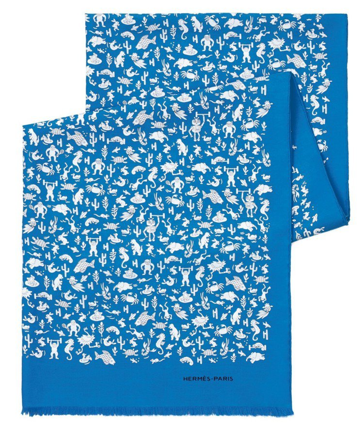 Summer Party圖紋印花純棉與真絲混紡圍巾,16,000元。 圖/愛馬仕...