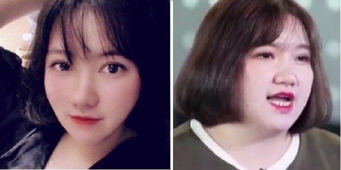 劉亞娟發胖前(左)和發胖後。圖取自微博