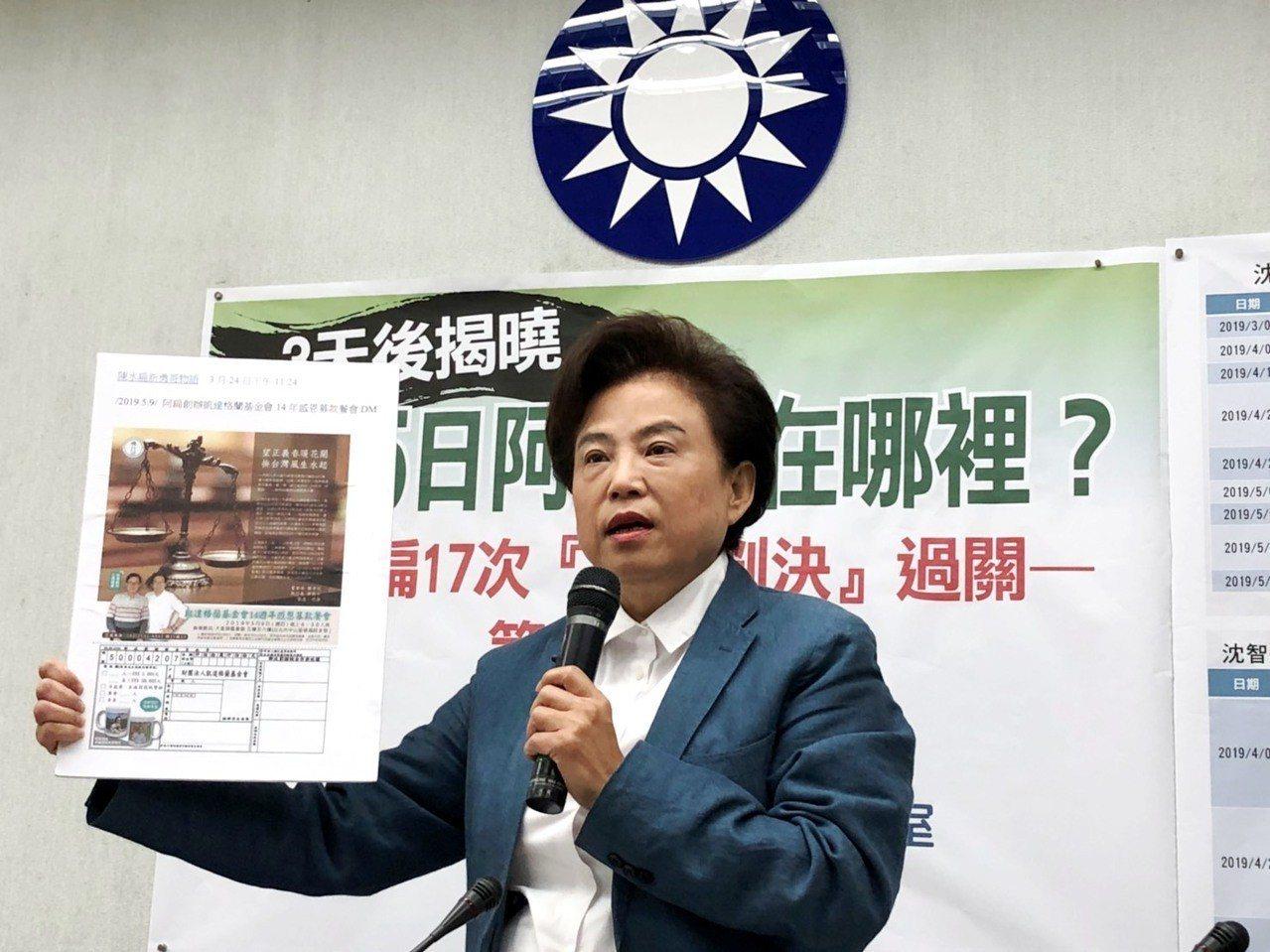 沈智慧質疑陳水扁是否會第18度成功展延保外就醫。記者賴于榛/攝影