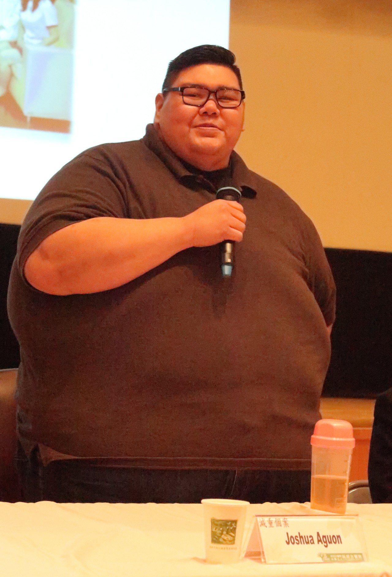 關島32歲男子賈書亞體重282公斤,BMI值高達95.32,BMI大於60定義為...