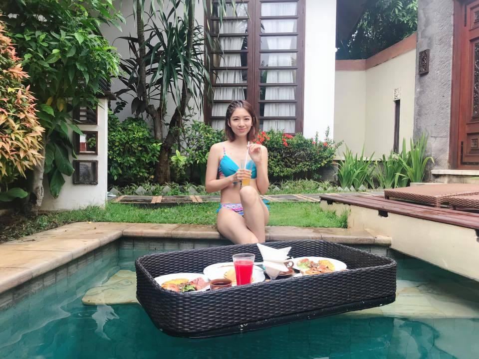 劉倩妏殺青後到峇厘島度假穿上比基尼。圖/摘自臉書