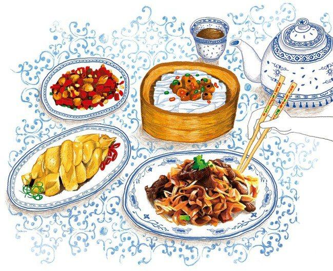 辣子雞,湛江雞,陳村粉和乾炒牛河配馬艛摵茶。 圖/Emily繪