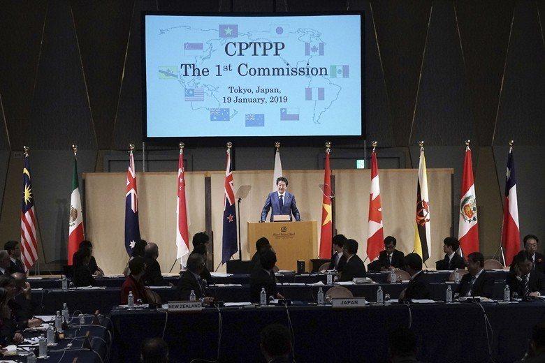 2019年1月日本首相安倍晉三在首次「跨太平洋夥伴全面進步協定」(CPTPP)部...