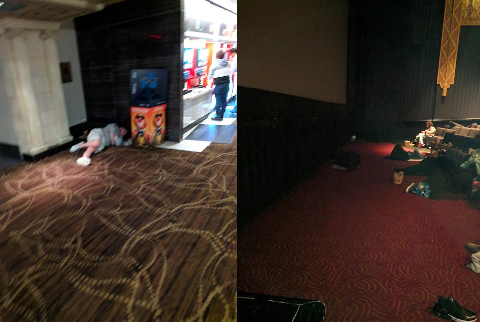 電影院內除了規定不能睡覺的走道外,都被體力不支的漫威馬拉松參賽者佔領了。phot...