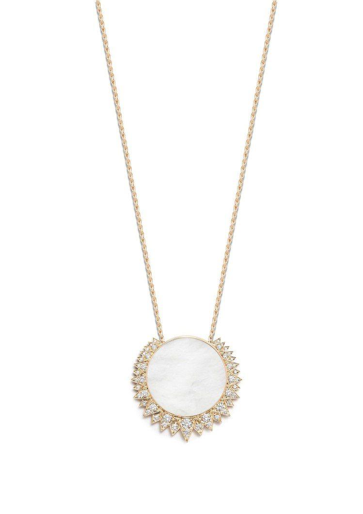 Sunlight系列18K玫瑰金長垂飾鑲飾珍珠貝母及49顆美鑽共約1.64克拉,...