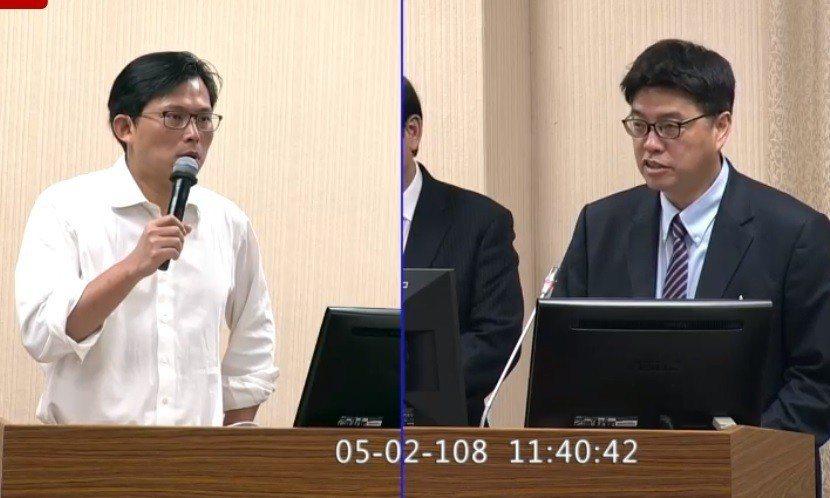 時代力量立委黃國昌上午在立法院質詢陸委會副主委邱垂正。翻攝立法院直播畫面