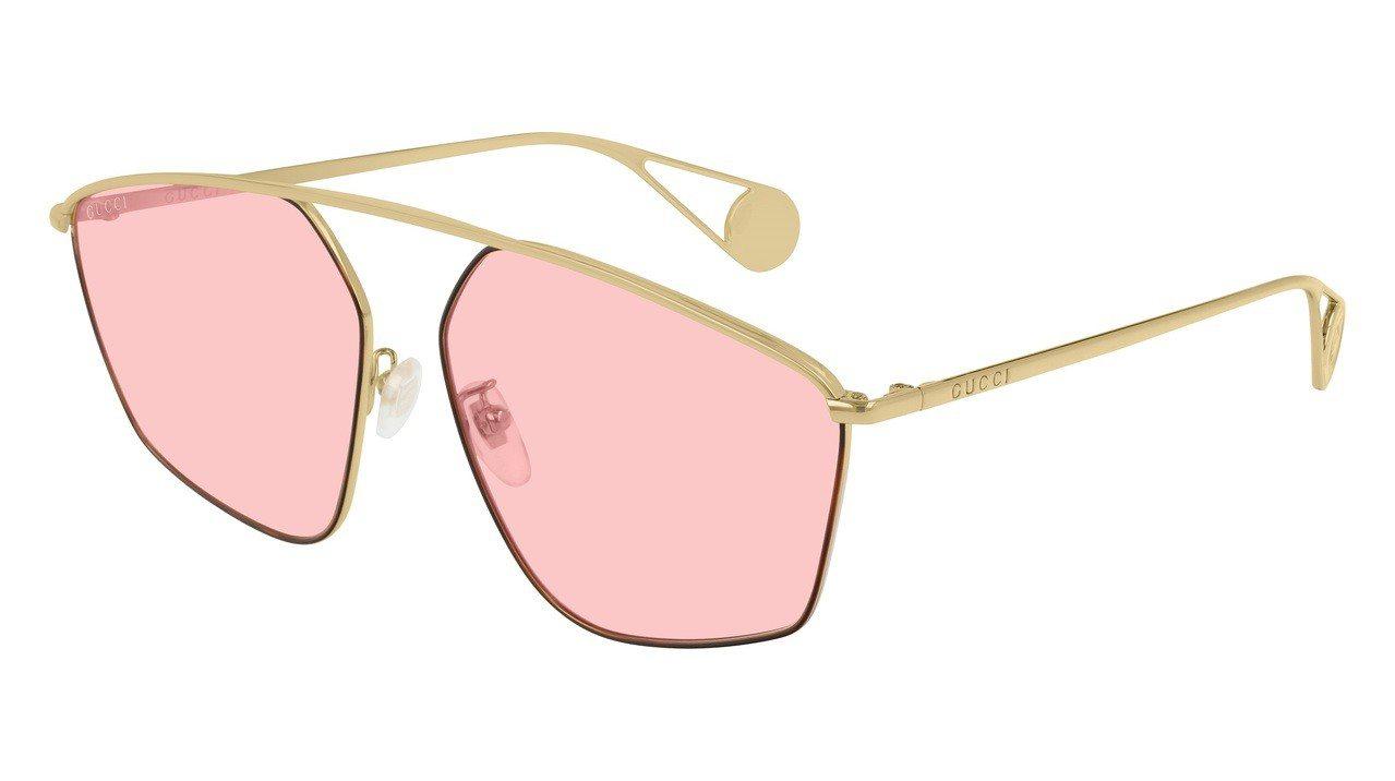 櫻桃粉色幾何造型太陽眼鏡。圖/Gucci提供