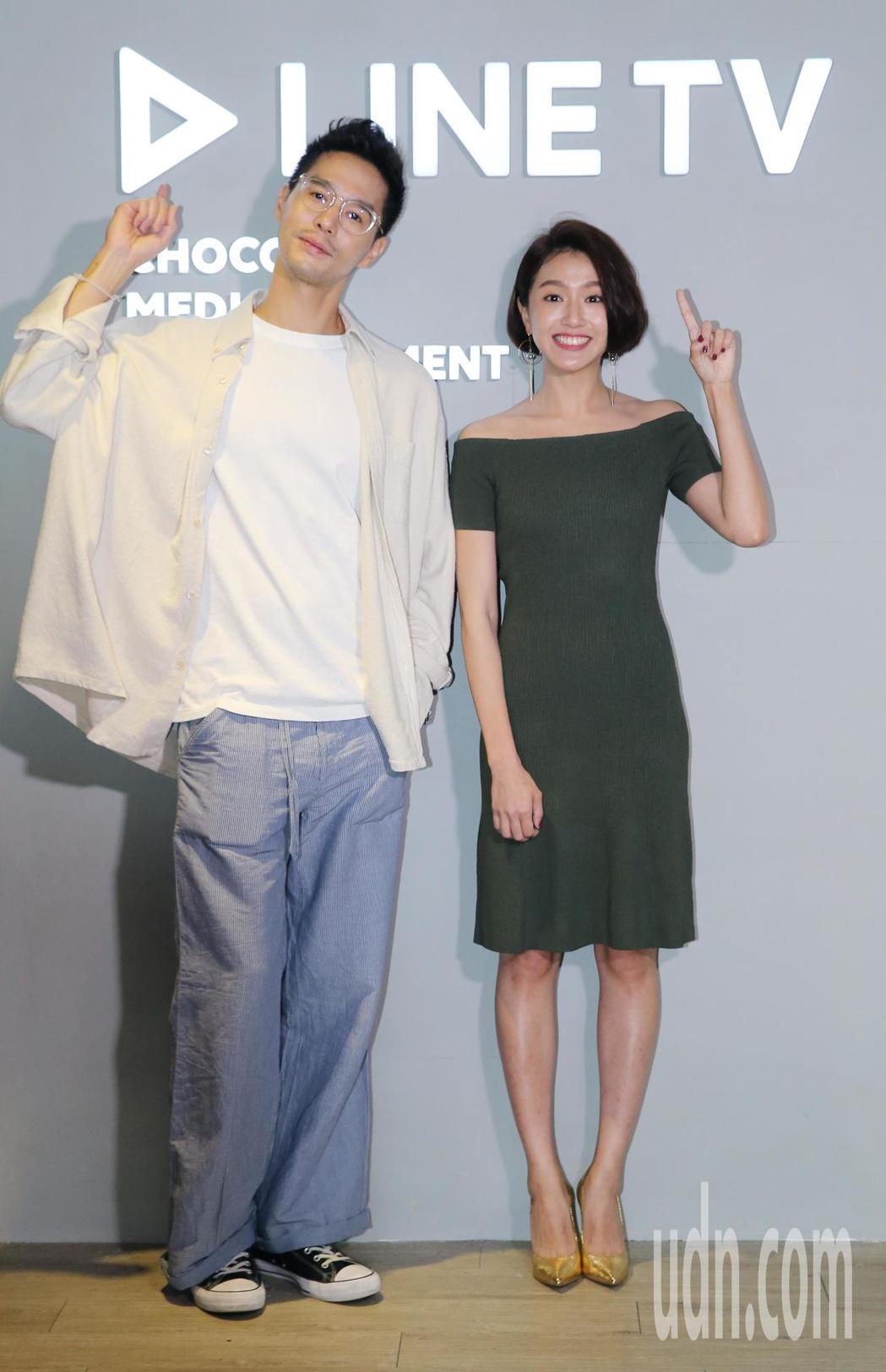LINE TV新戲「圈套」,片中演員丁春誠(左)、林意箴(右)接受媒體聯訪。記者