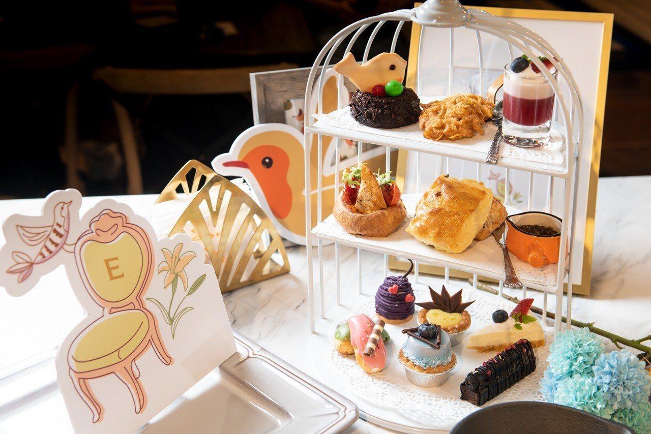 以知更鳥為靈感設計的英式下午茶。圖/六角國際餐飲提供