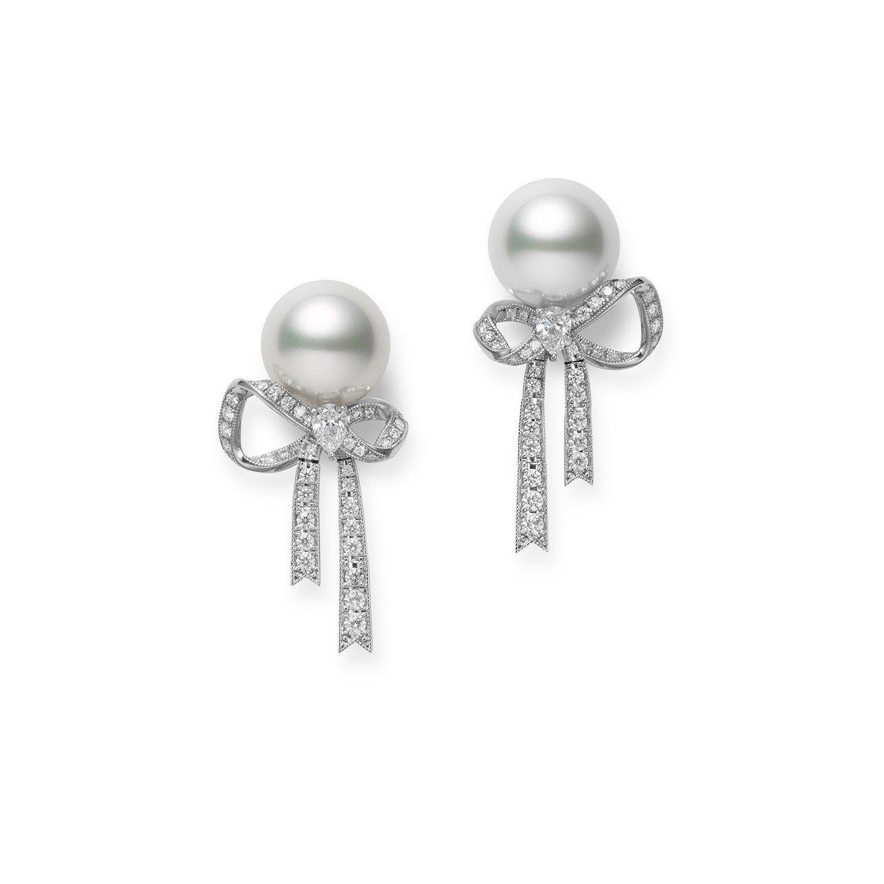 MIKIMOTO Jeux de Rubans 頂級珠寶系列南洋珍珠鑽石蝴蝶結耳...