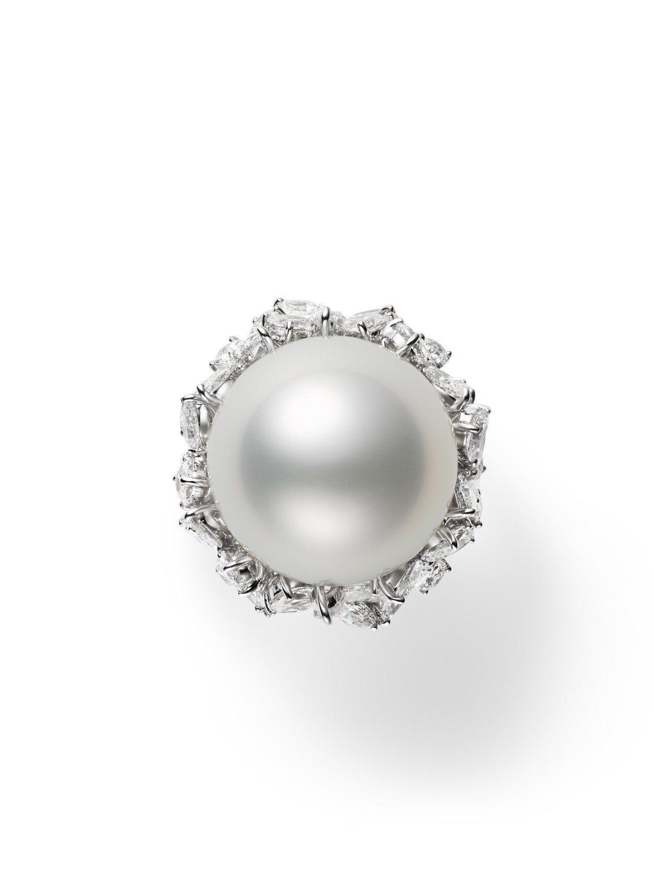 MIKIMOTO Praise to Nature頂級珠寶系列南洋珍珠鑽石鉑金戒...