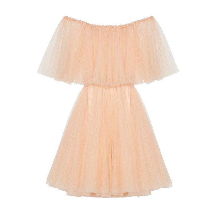 maje粉膚色澎裙洋裝,售價13,680元。圖/maje提供