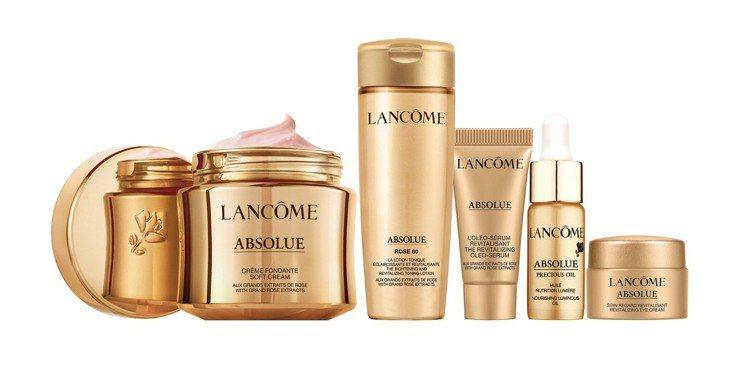蘭蔻頂級黃金玫瑰霜禮盒:絕對完美黃金玫瑰修護乳霜60ml、絕對完美黃金玫瑰修護露...