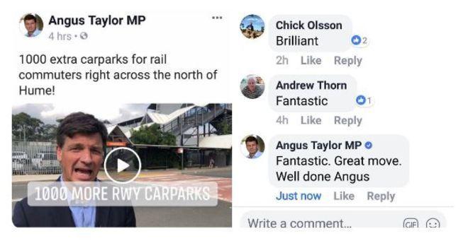 澳洲議員泰勒在臉書貼文留言誇自己,被網友抓包取笑。(取自BBC)