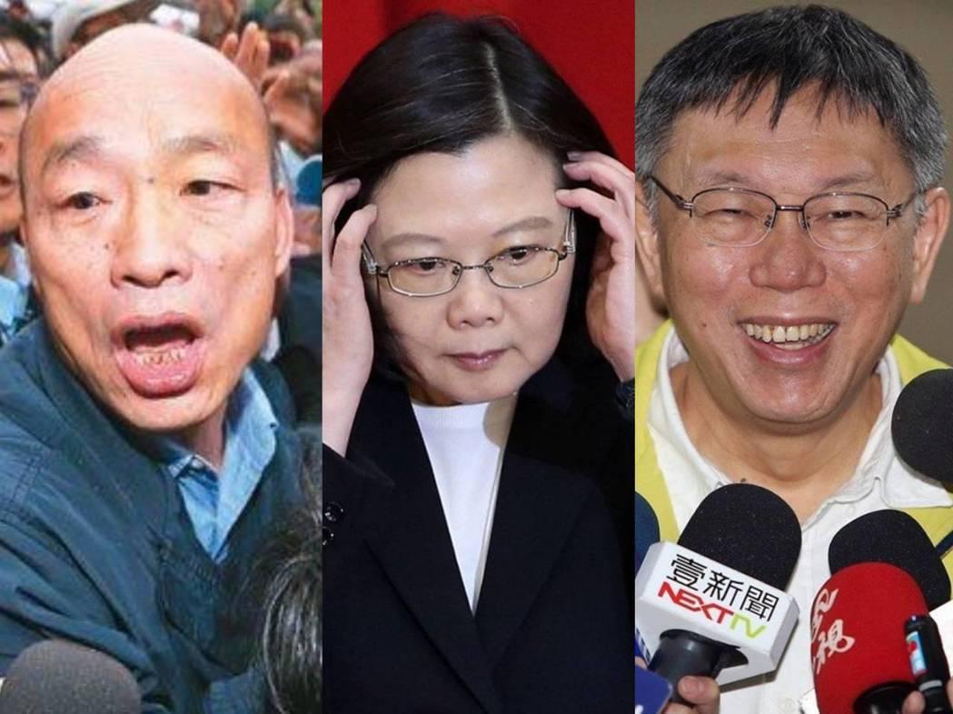圖左至右為韓國瑜、蔡英文、柯文哲。兩岸政策協會分析若以柯文哲、韓國瑜作對手,蔡勝...